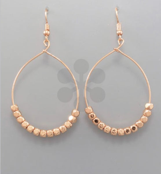 Worn Gold Beaded Hoops