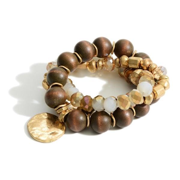 Hammered Pendant and Gold Bracelet