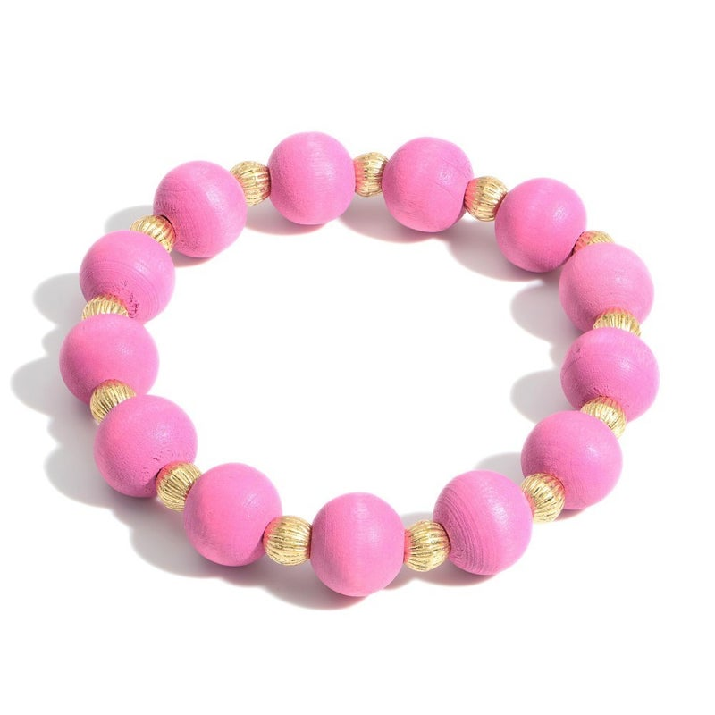 Wooden You Like To Know Bracelet (Pink)