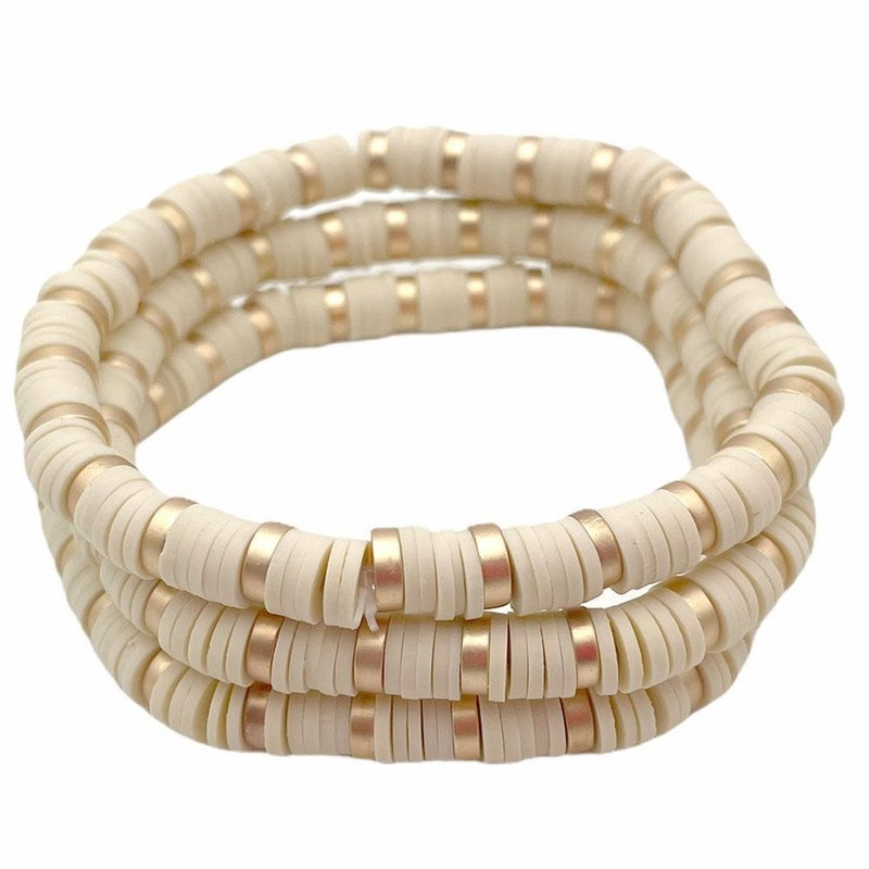 Three Heishi Bead Bracelets with Gold Accents
