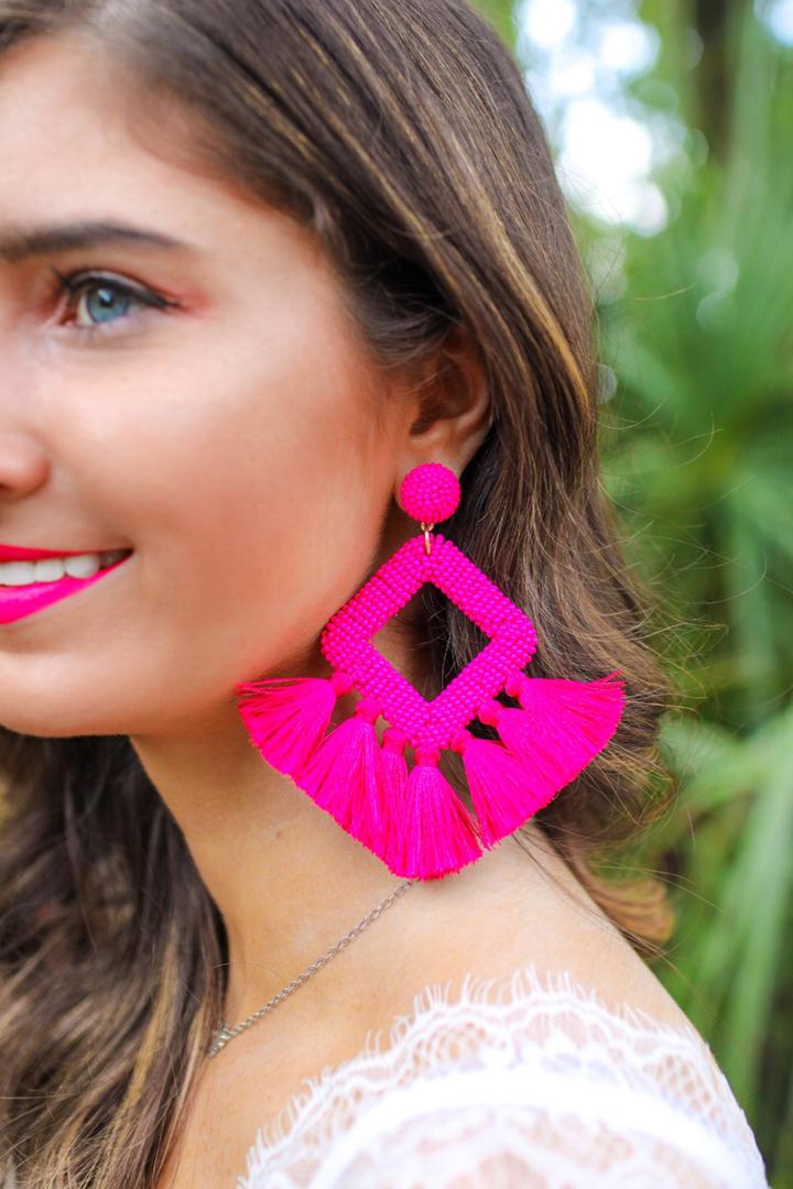 Ellie Fringe Drop Earrings *Pink*