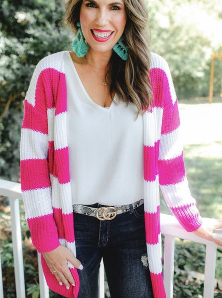 Last One! Pink + White Striped Cardigan *Final Sale*