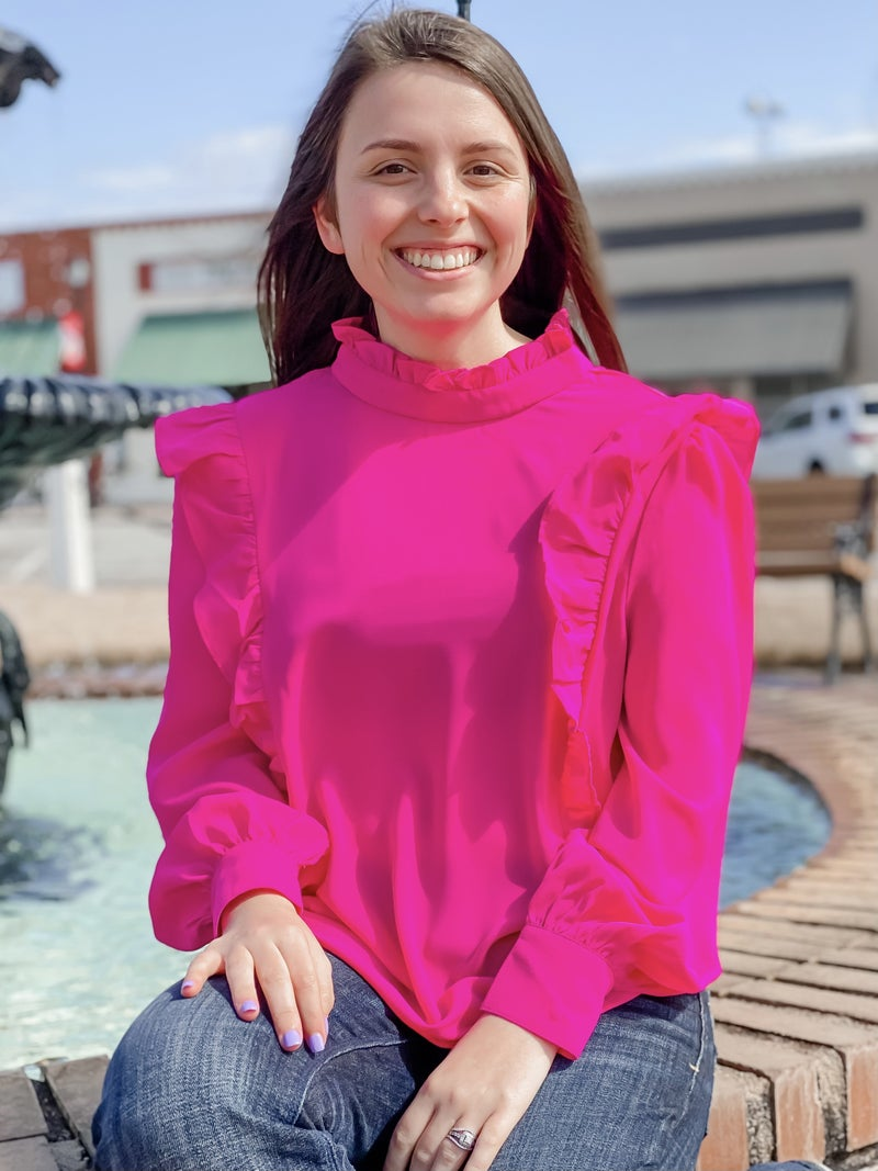 Tickle Me Pink Ruffle Top