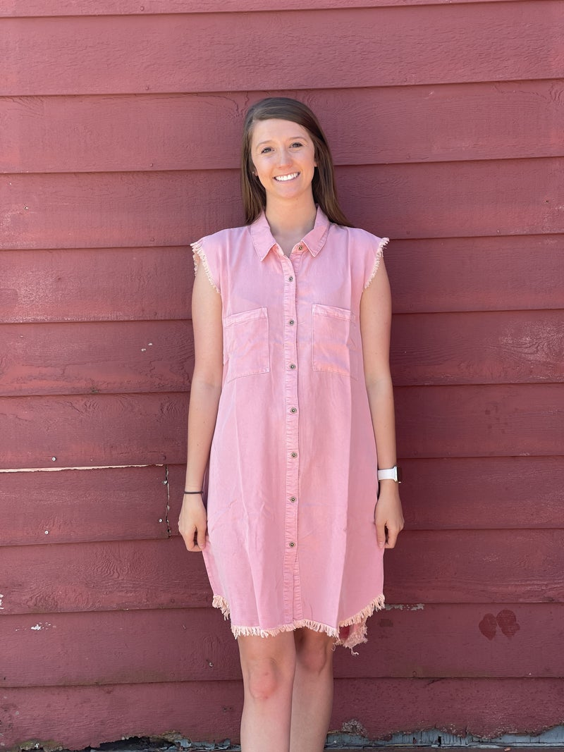 On The Fray Dress *Pink*