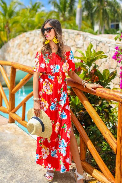 Riviera Romance Floral Maxi Dress *Red*