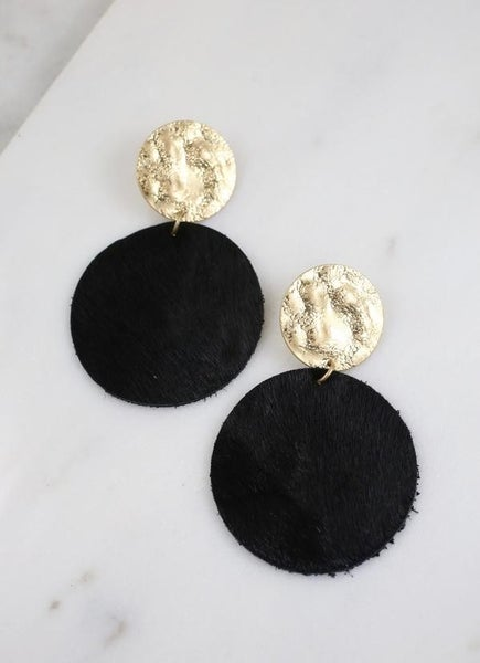 Claremore Faux Fur Earrings-Black