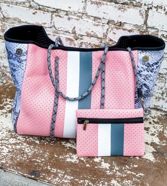 Neoprene Tote Bags Pink /Snake