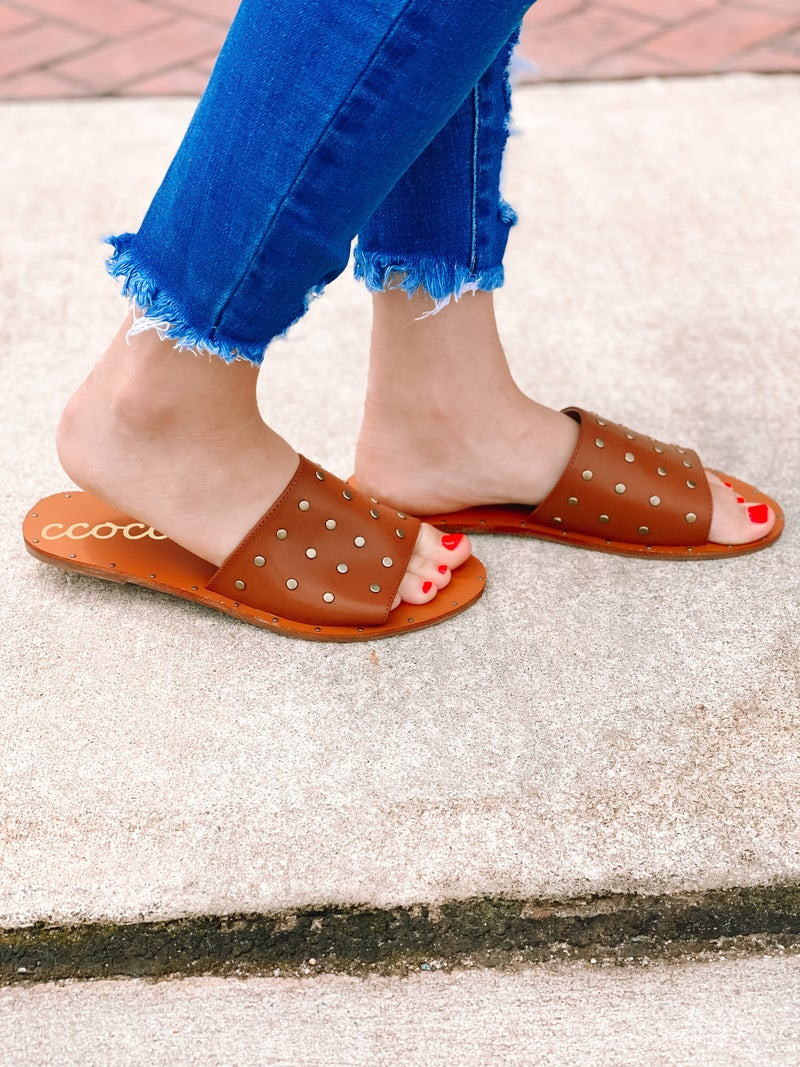 Dressed To Impress Studded Sandals-Tan
