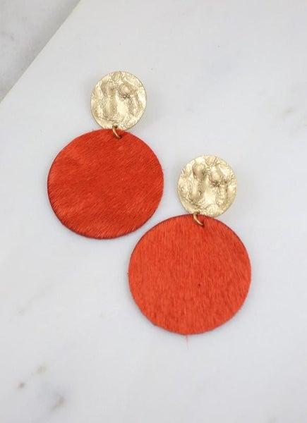Claremore Faux Fur Earrings-Orange