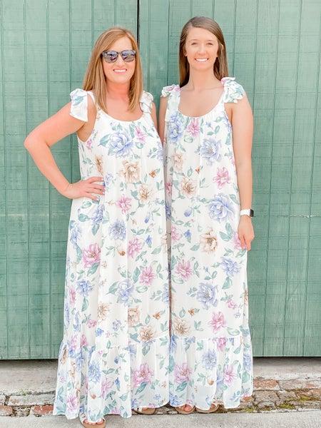 Adrienne-Floral Adjust Tie Maxi Dress