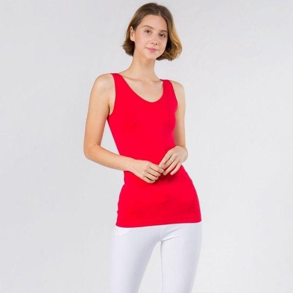 Women's Seamless Reversible V-Neck Tank *Red* *Final Sale*