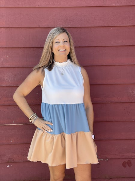 Sweet Simplicity Dress *Blue/Taupe*