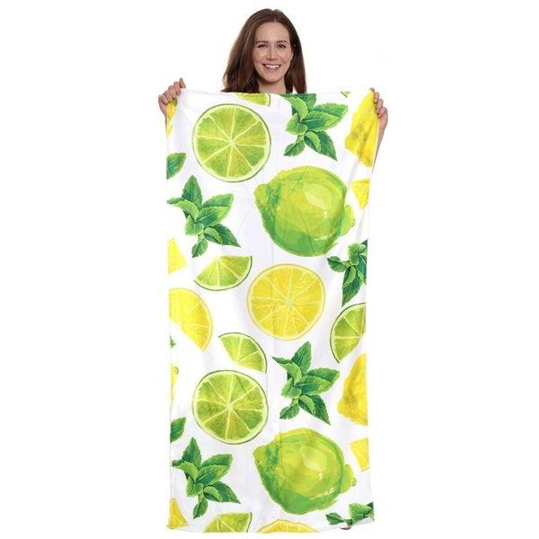 Lemon Lime Beach Towel Drawstring Bag All in One