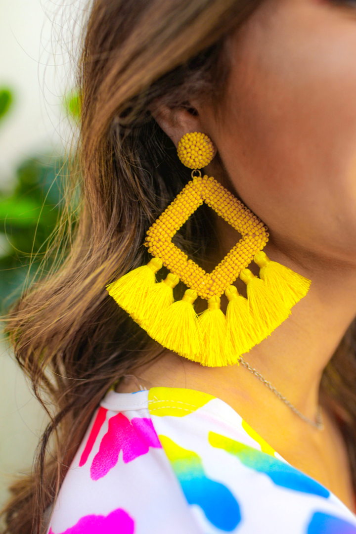 Ellie Fringe Drop Earrings *Yellow*