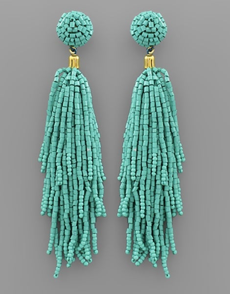 You Are My Forever Tassel Earrings - Teal