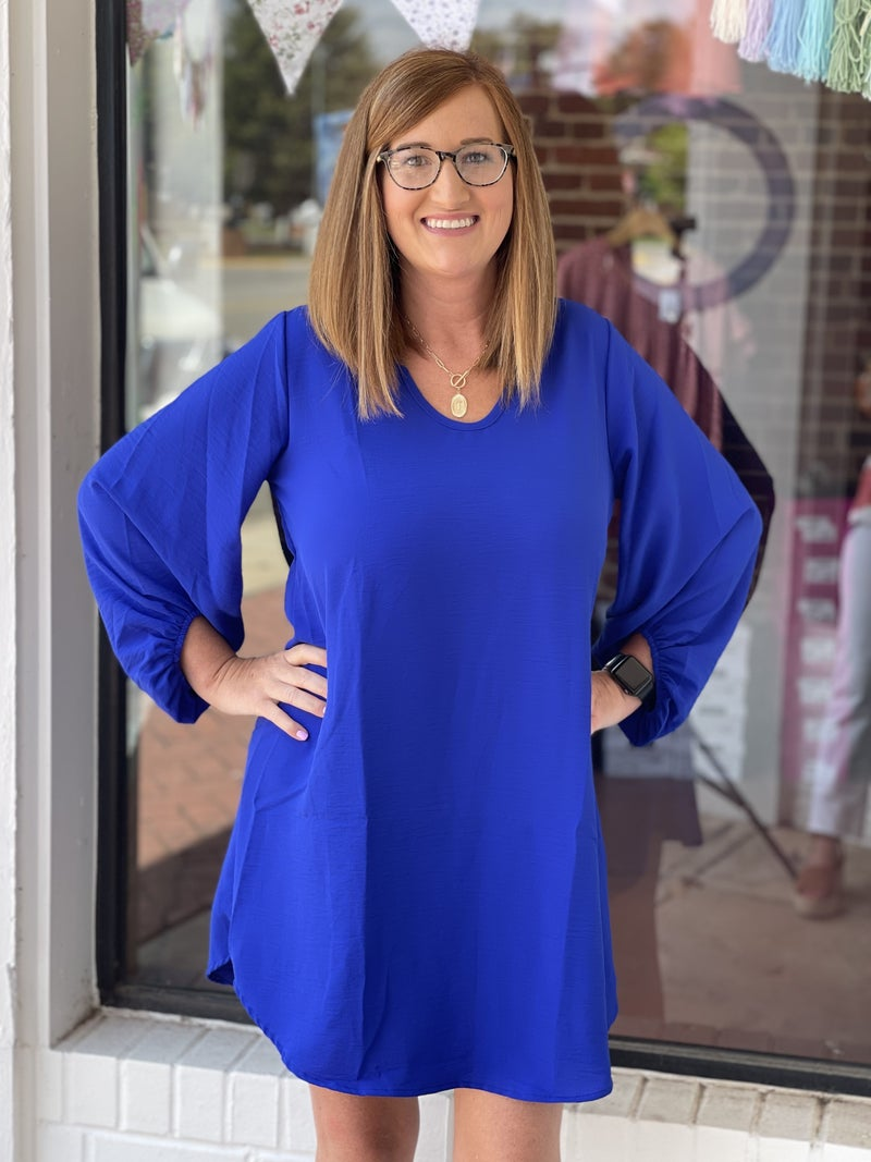 Jessie Balloon Sleeve Dress *Blue*