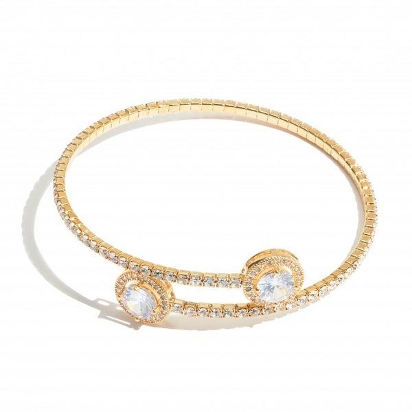 Rhinestone Tennis Cuff Bracelet