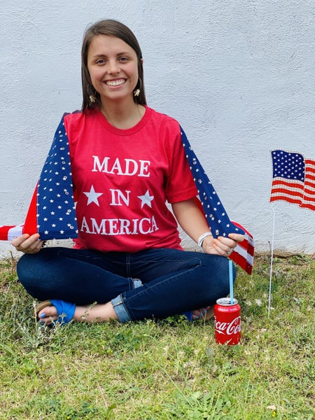 """""""Made in America"""" Patriotic Graphic Tee *Red*"""