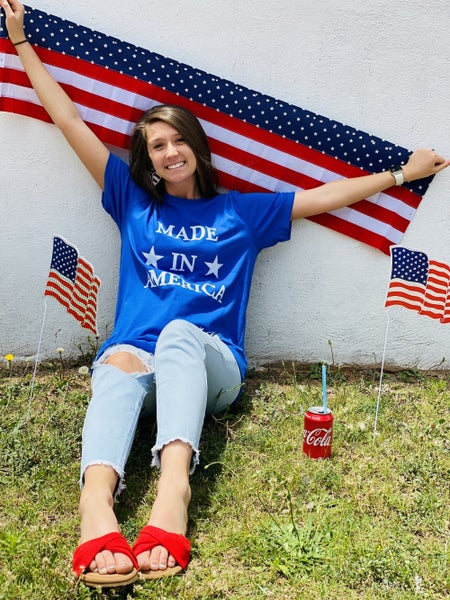 """""""Made in America"""" Patriotic Graphic Tee *Blue*"""