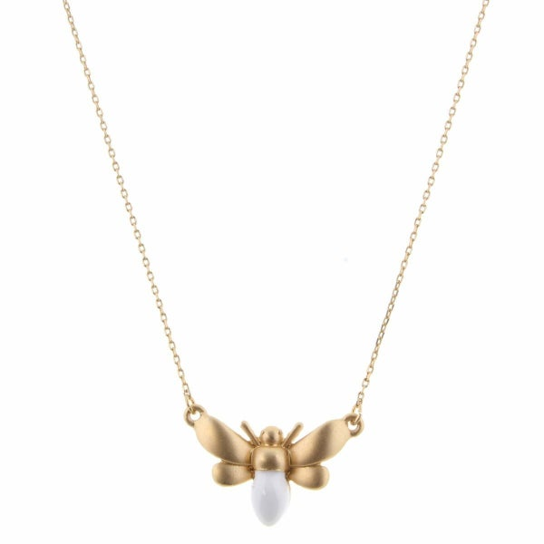 Gold and White Epoxy Bee Necklace