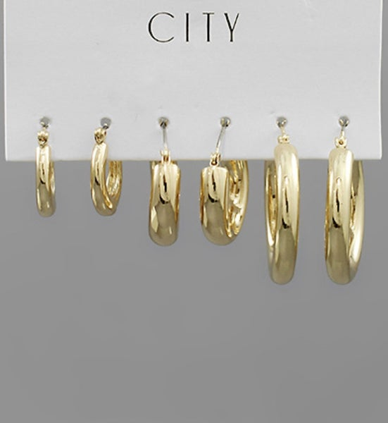 3 pair of Gold Hoops!