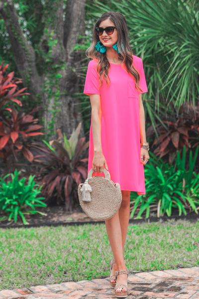 Maddy T-Shirt Dress *Hot Pink*