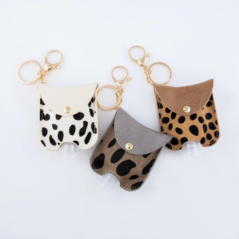 Genuine Leather Cow Print Disinfectant Keychain Holder