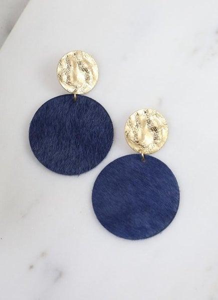 Claremore Faux Fur Earrings-Navy