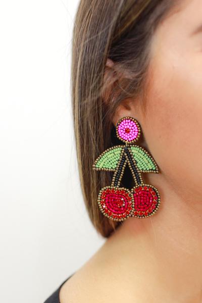 Wild Cherry Beaded Earrings
