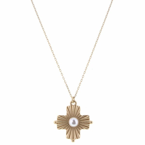 White Pearl In Gold Sunray Cross Necklace