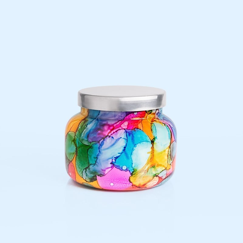 Capri Blue Volcano Rainbow Watercolor Jar Candle