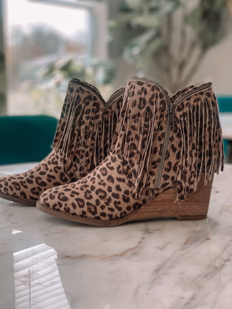 Fringed Out Wedge Booties