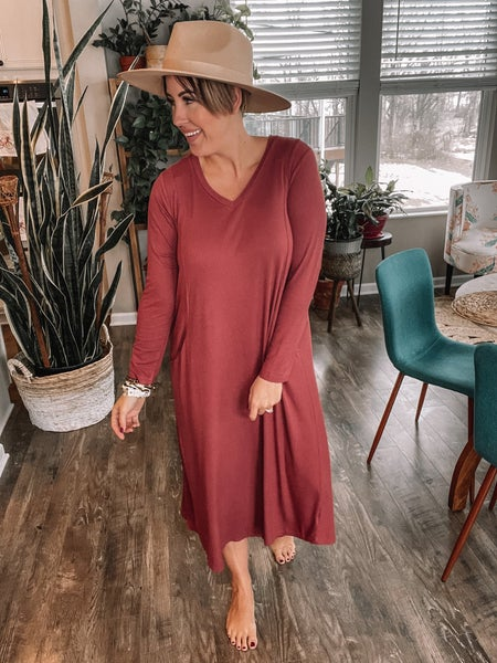 Red Clay Ribbed Dress