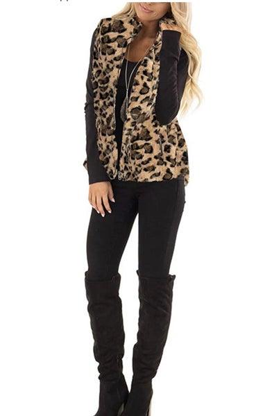 Leopard Sherpa vest