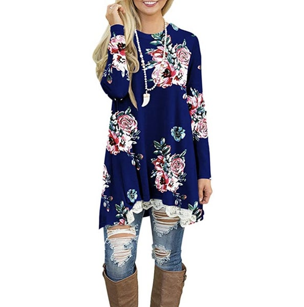 Floral lace tunic