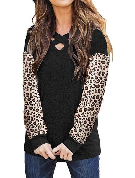 Leopard Criss Cross Color Block Top