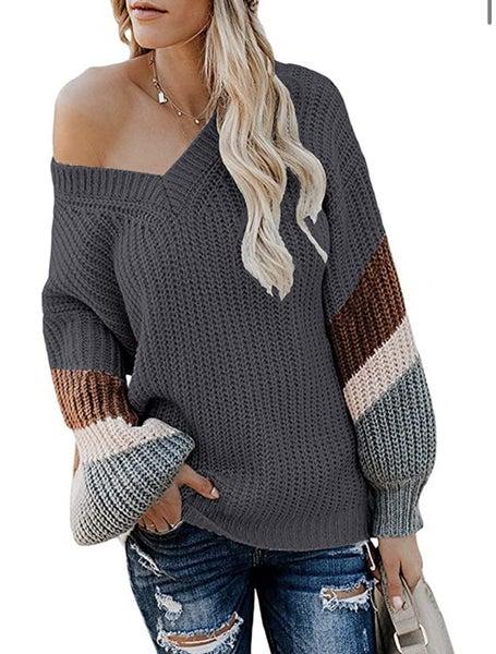Off Shoulder Stripe Sweater