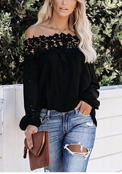 Lace Crochet Off Shoulder Top