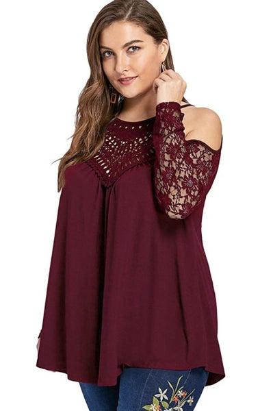 Plus Size Lace Crochet  Top
