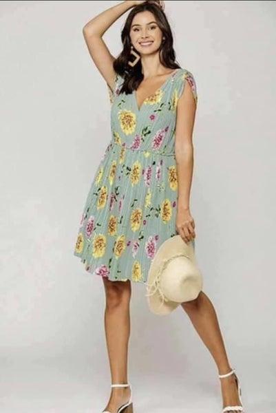 Mint Floral Dress *Final Sale*