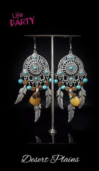 Desert Plains - Silver with Turquoise, Wood & Feather Earrings - October 2020 Life of the Party Exclusive