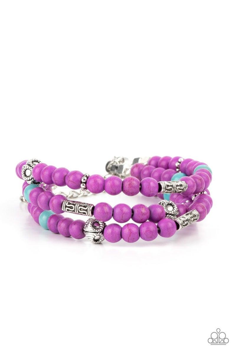Desert Decorum - Purple & Turquoise stone Beads with Silver accents Bracelet