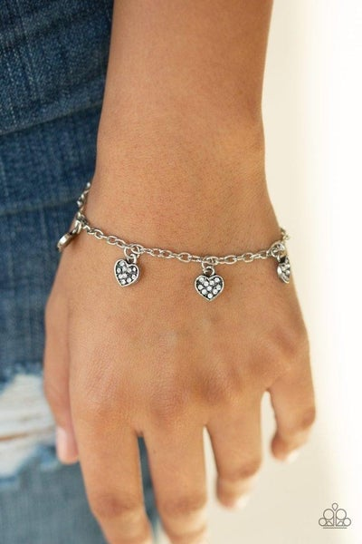 Valentine Vibes - Silver with Heart Charms encrusted with White Rhinestones Bracelet