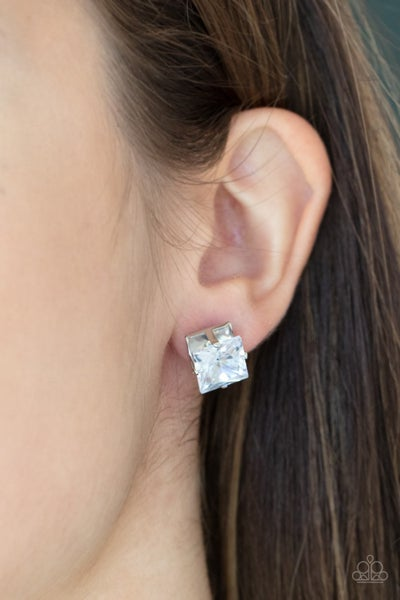 Pre-Order Times Square Timeless - White square Rhinestones with Silver Stud Earrings