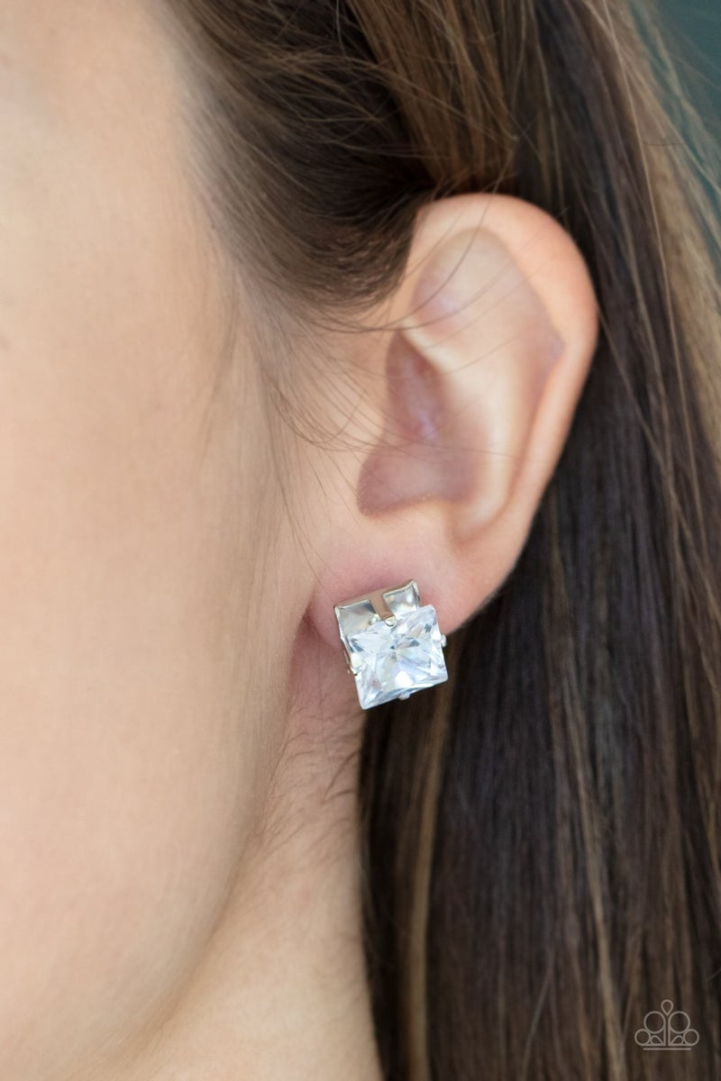 Times Square Timeless - White square Rhinestones with Silver Stud Earrings