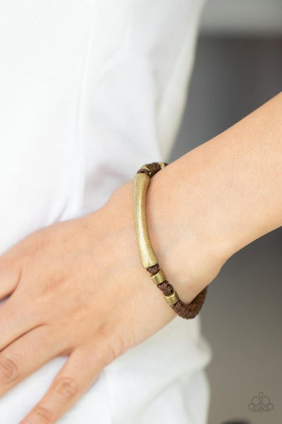 Grounded in Grit - Brown Cordage with Brass Beads button loop closure Bracelet
