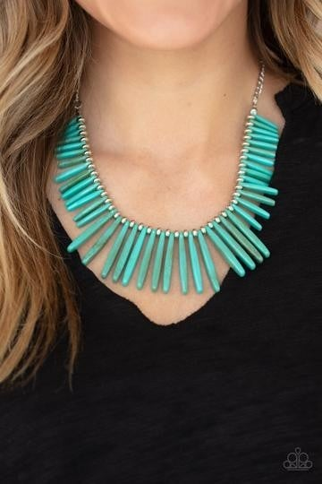 Paparazzi Out of My Element - Silver with Blue Acrylic Turquoise-Like Rods Necklace