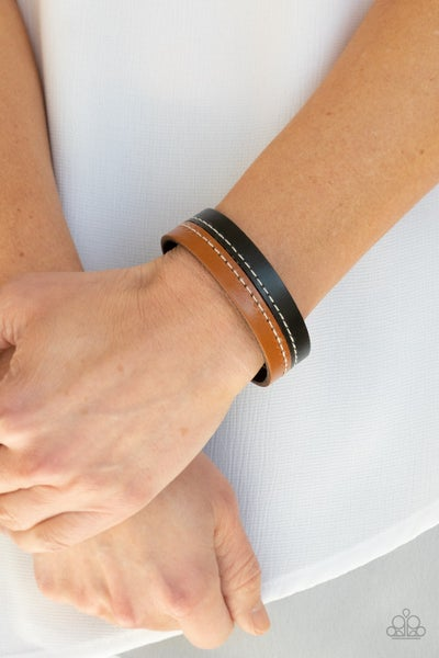 Simply Safari - Black & Brown Leather Snap Bracelet