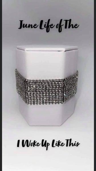 I Woke Up Like This - Silver with White Rhinestone Strands Bracelet