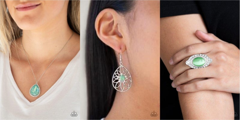 Come of Ageless, Take it Glow & Riviera Royalty - Green Moonstone with White Rhinestones - 3pc Set